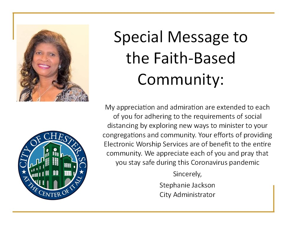 Special Message to Faith-Based Community