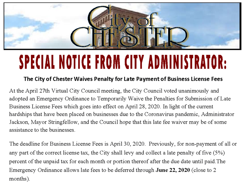 Special Notice - City Administrator