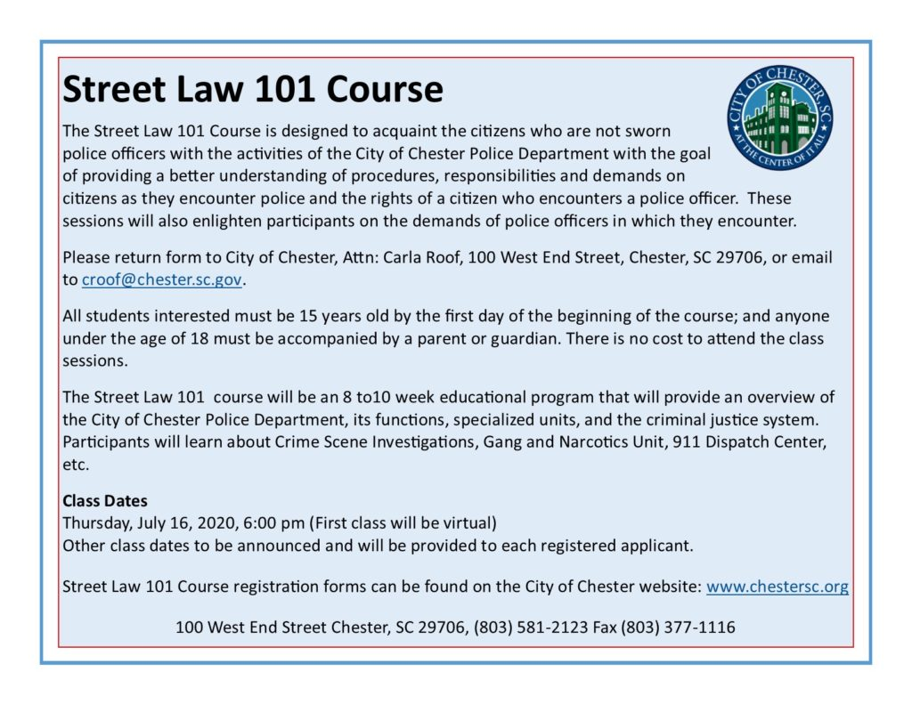 Street Law 101 Course Announcement